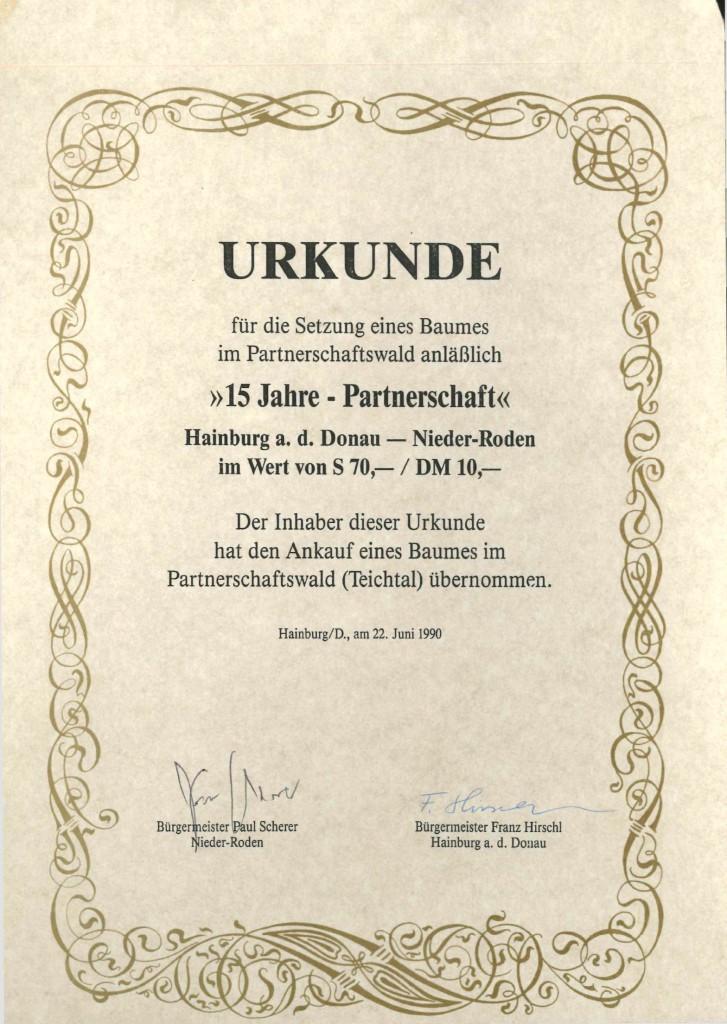 Urkunde_Baumsetzung Partnerschaftswald